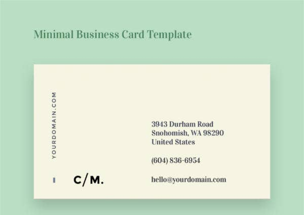 108+ Inspiring Minimalist Business Card Templates - AI, Ms Word, PSD