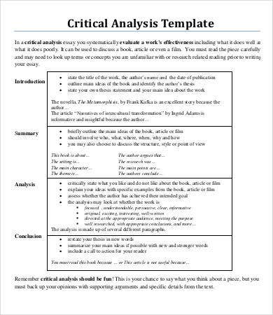 analysis essay template sample example format  critical analysis essay template