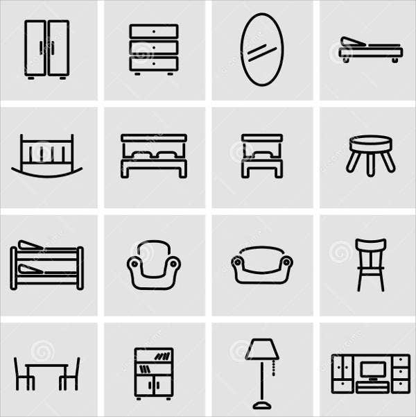 furniture-line-icons-set