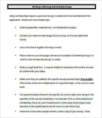 scholarship essays example word pdf documents winning scholarship essay example