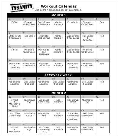 printable workout calendar example