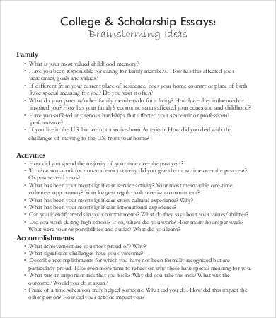 College Scholarship Essays Example