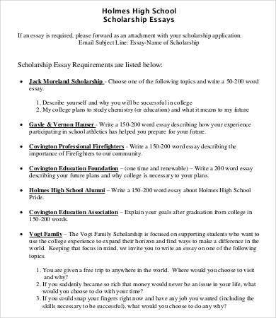 scholarship essays example   free word pdf documents download  high school scholarship essay example