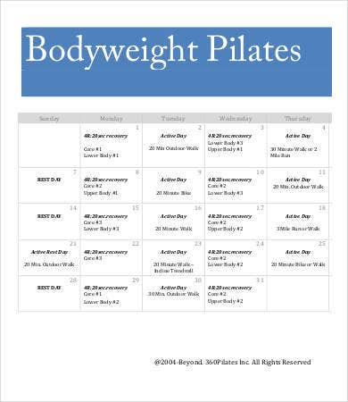 body weight workout calendar template