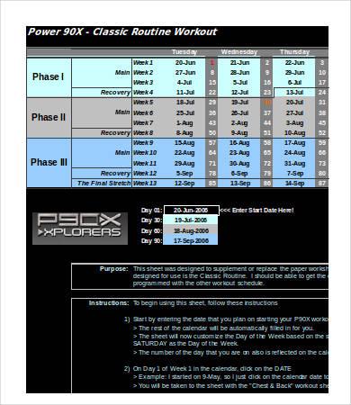 excel workout calendar sample