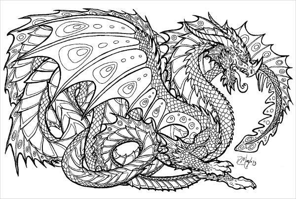 Dragon Coloring Page for Adults