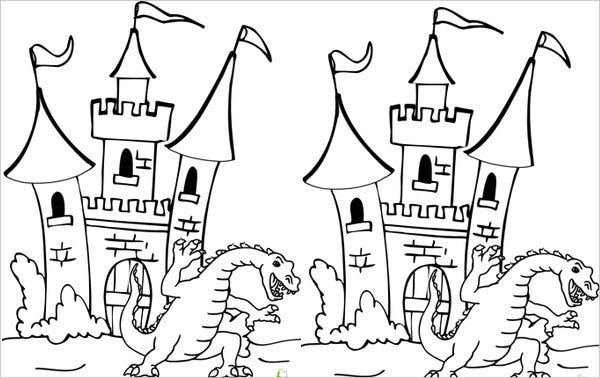 Dragon Castle Coloring Page