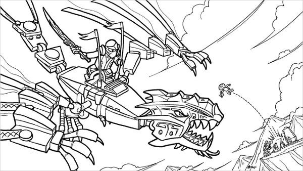 Ninja Golden Dragon Coloring Page