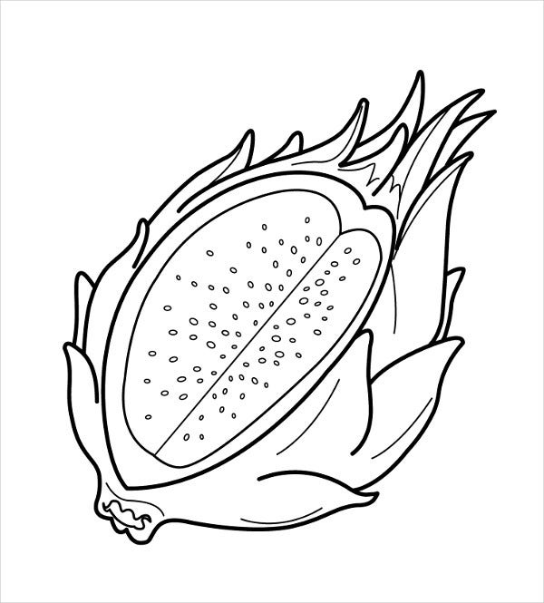 Dragon Fruit Coloring Page