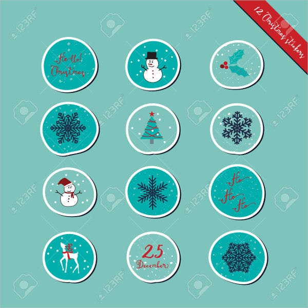 christmas-round-stickers