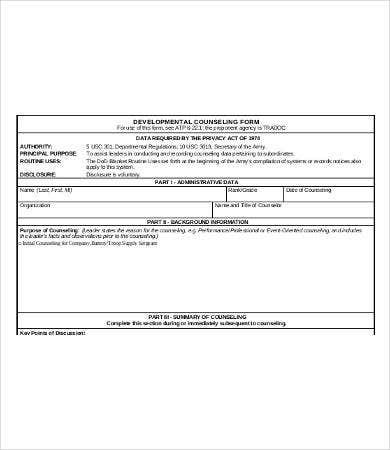 Army Counseling Form  Free  Premium Templates