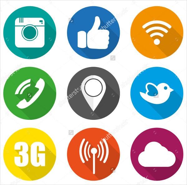 social circle icons vector