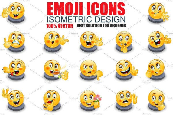 Isometric Emoji Icons Set