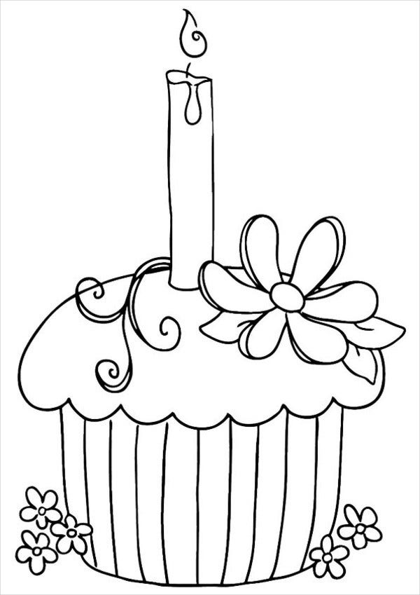 Happy Birthday Cupcake Coloring Page