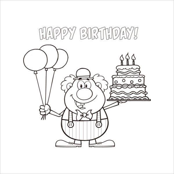 9+ Happy Birthday Coloring Pages - Free PSD, JPG, Gif ...