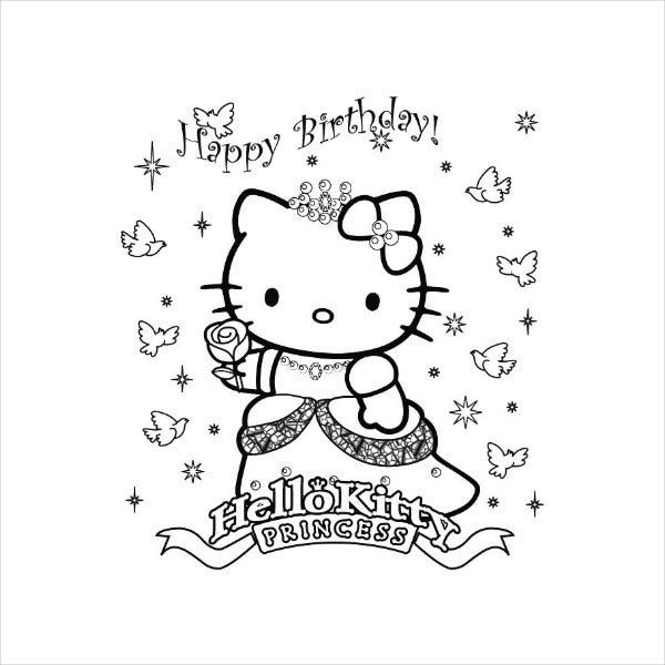 Hello Kitty Happy Birthday Coloring Page