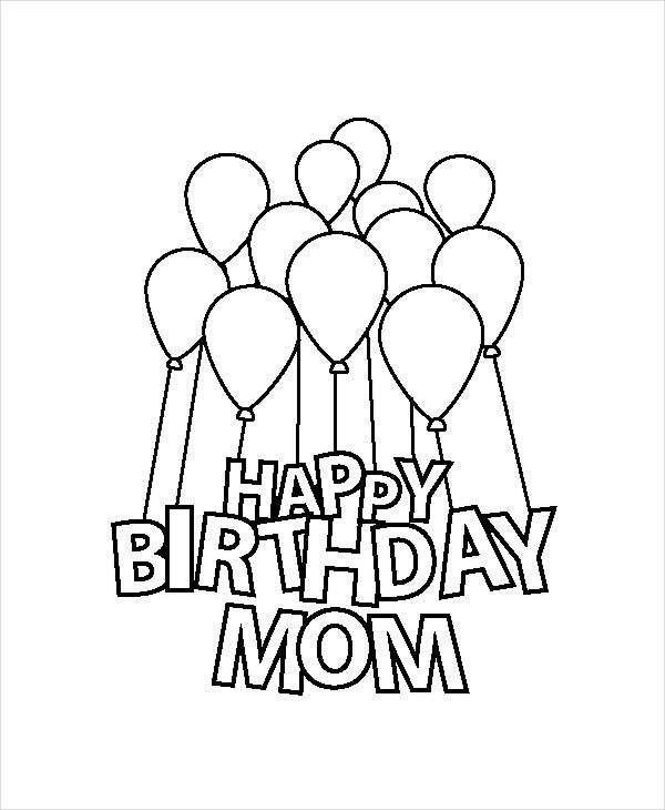 happy birthday mom coloring page - Birthday Coloring Pages