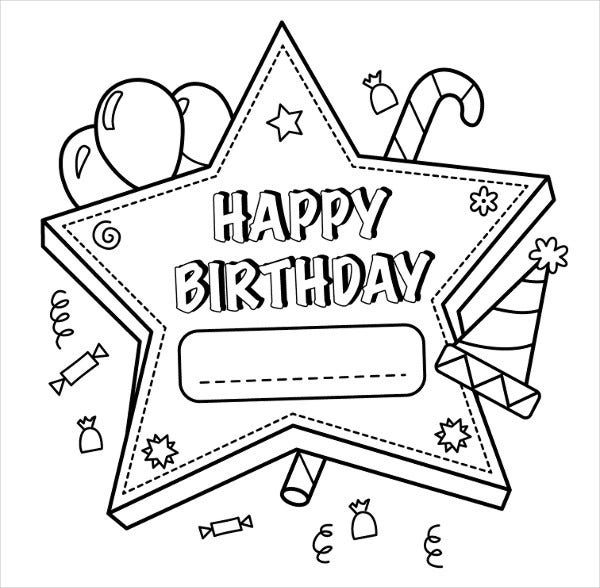 9 happy birthday coloring pages free psd jpg gif for Happy birthday coloring pages for kids