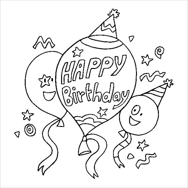 happy birthday balloons coloring page