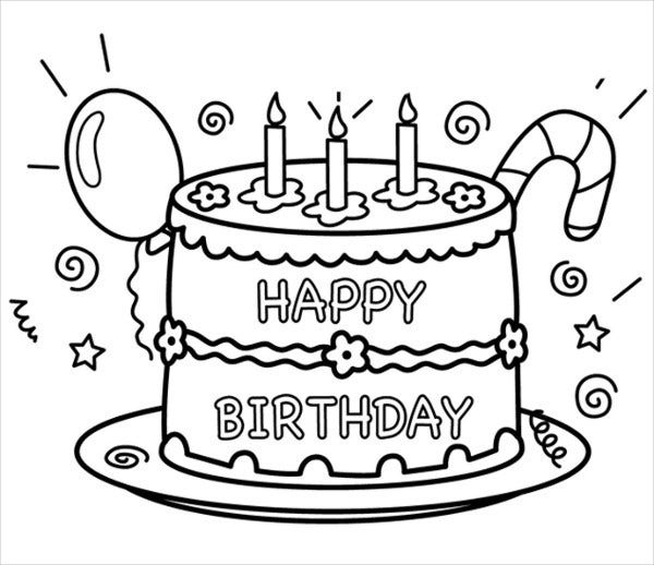 9 Happy Birthday Coloring Pages Free PSD JPG Gif