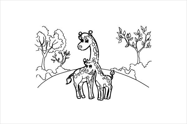 Giraffe Cartoon Coloring Page