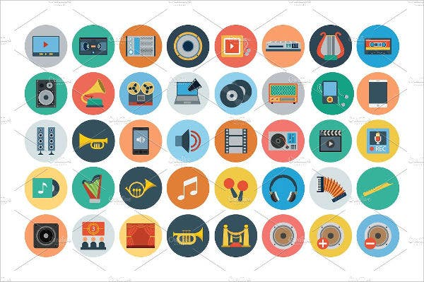 Flat Multimedia Icons