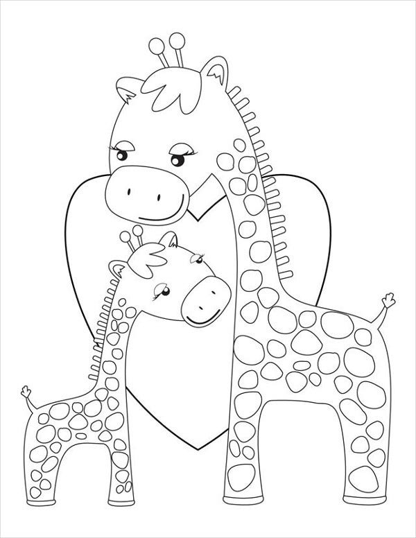 9 Giraffe Coloring Pages Free Psd Pdf Jpg Format Download