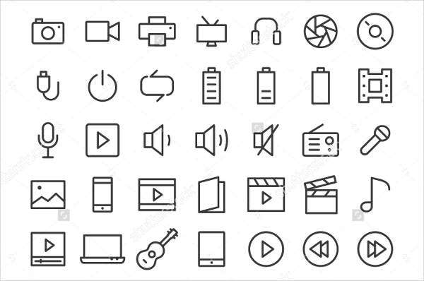 Multimedia Line Icons