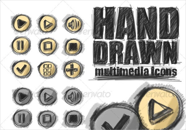 Hand Drawn Multimedia Icons