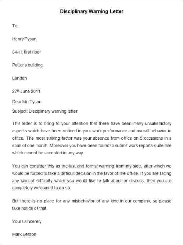 Disciplinary appeal letter sample.