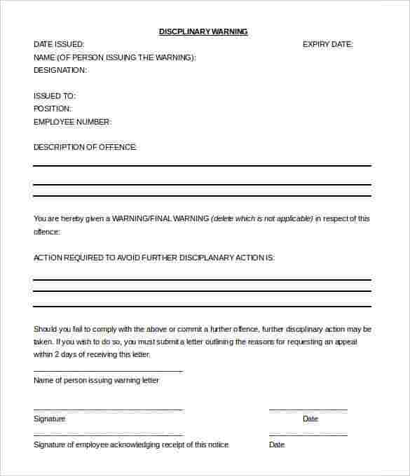 disciplinary warning letter template free word doc download min southafrica smetoolkitorg