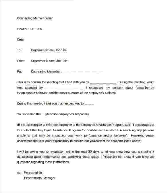 33 HR Warning Letters Free Sample Example Format – Employee Counseling Form
