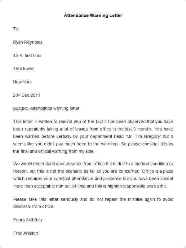 33 HR Warning Letters Free Sample Example Format – Sample Final Notice Letter
