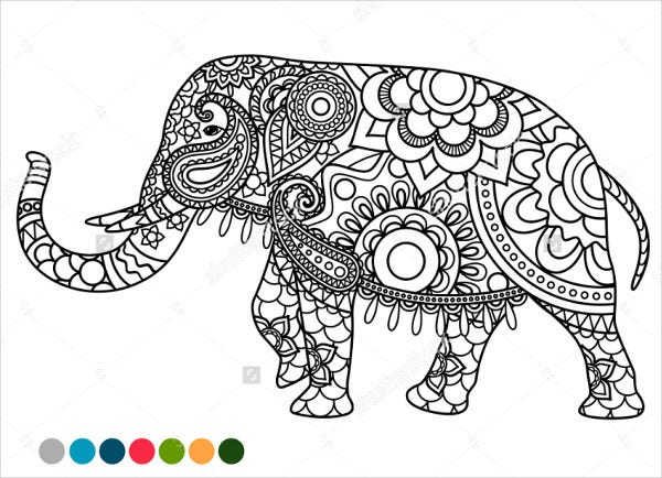 graphic about Elephant Coloring Pages Printable identified as 9+ Elephant Coloring Web pages - Totally free Pattern, Illustration, Structure