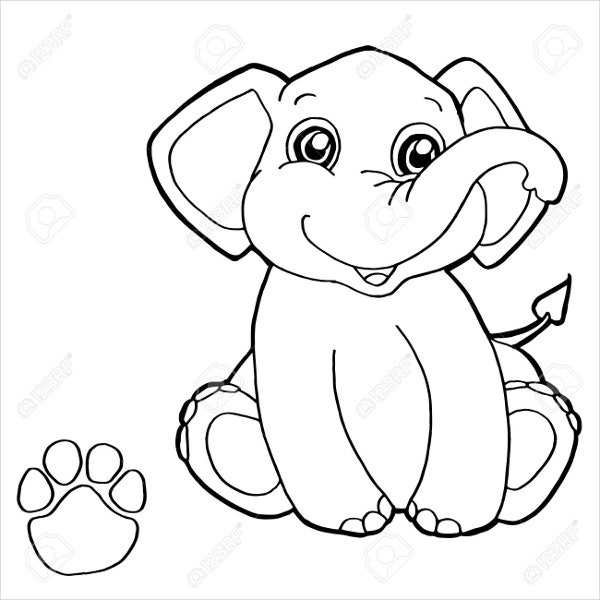 baby elephant coloring pages print - photo#36