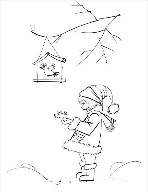Birds in Winter Coloring Page