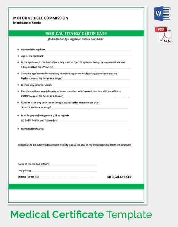 Medical certificate template 33 free word pdf documents medical certificate for motor vehicle driver yadclub Images