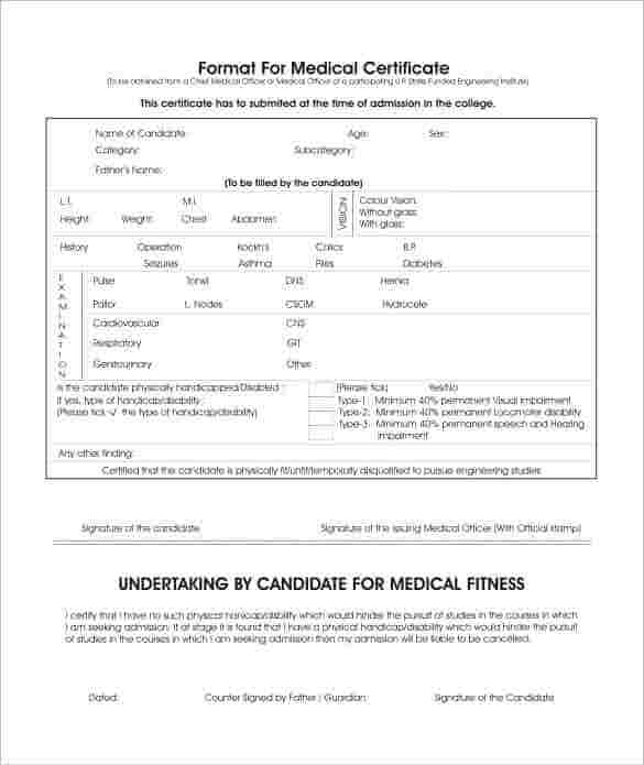 Downloadable Medical Certificate Format  Medical Certificate Format