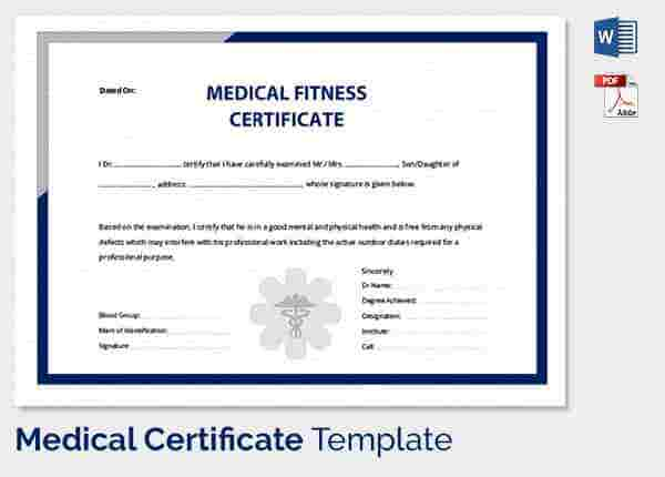 Medical certificate template 33 free word pdf documents medical certificate for employee fitness yadclub Images