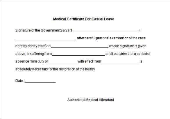 sample medical certificate form 7 examples in word pdf