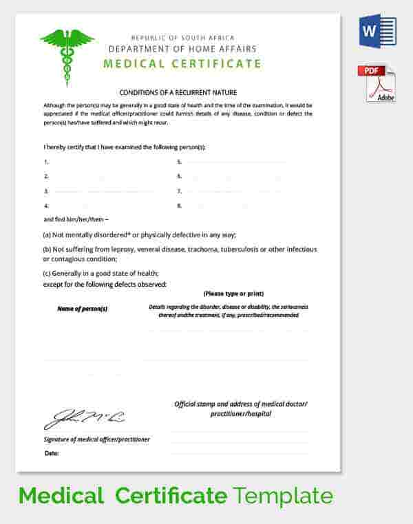 Medical Certificate Template 20 Free Word PDF Documents – Medical Templates for Word