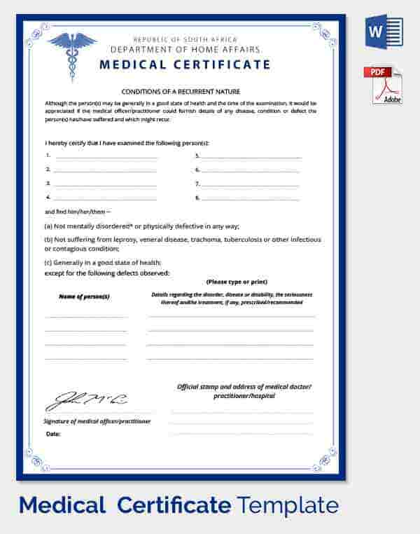 Medical Certificate Template - 20+ Free Word, PDF Documents Download ...