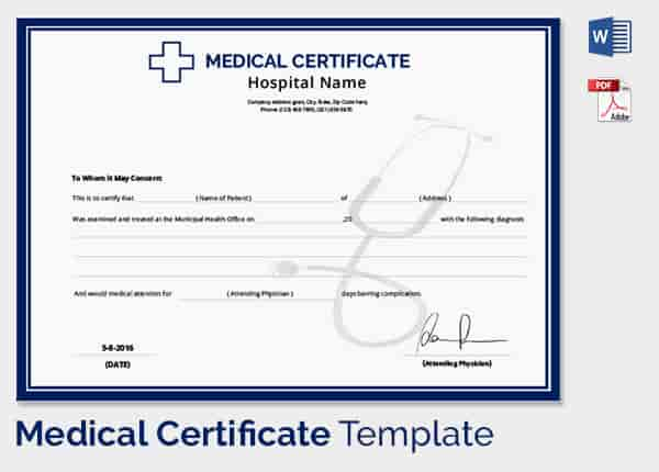 Medical certificate template 33 free word pdf documents doctors medical certificate template yadclub Images