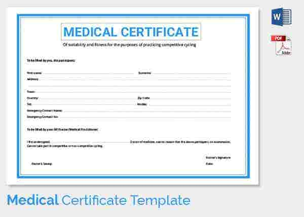 Medical Certificate Template 20 Free Word PDF Documents – Medical Certificate Template