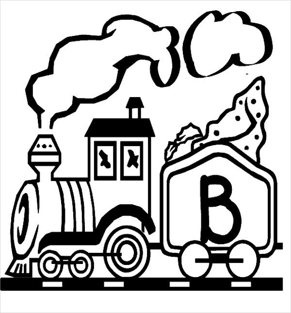train alphabet coloring page