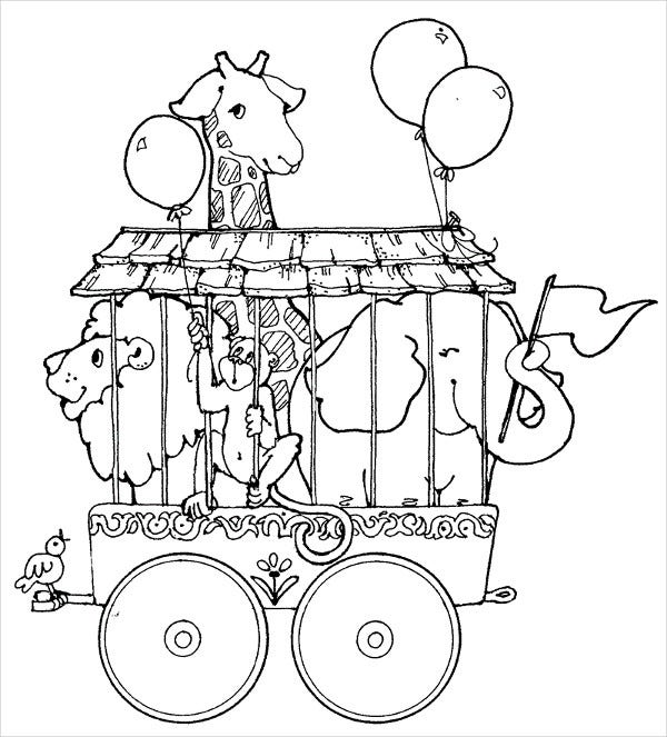 circus animal train coloring page