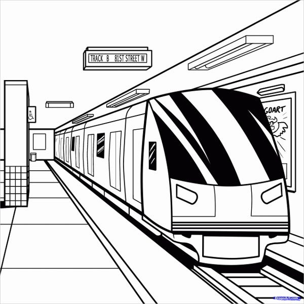 9  train coloring pages