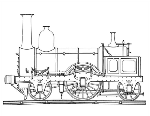 stream train coloring page for kids