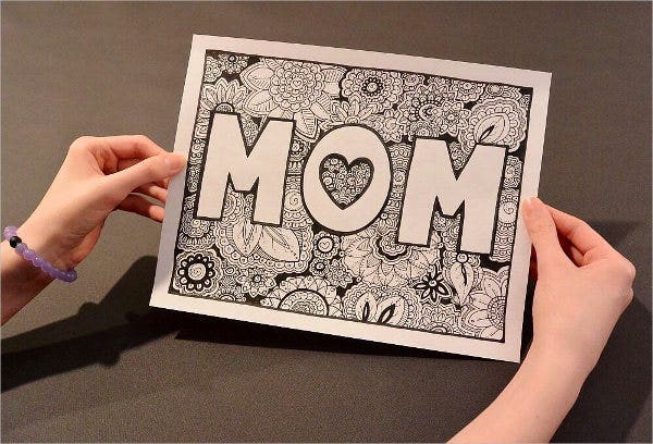 handdrawn mothers day coloring page