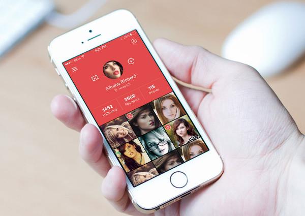 realistic app screen mockup